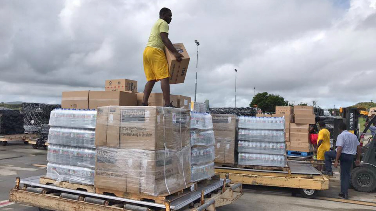 Relief items being organised in Antigua today. (PHOTO: ABS Television/Radio)