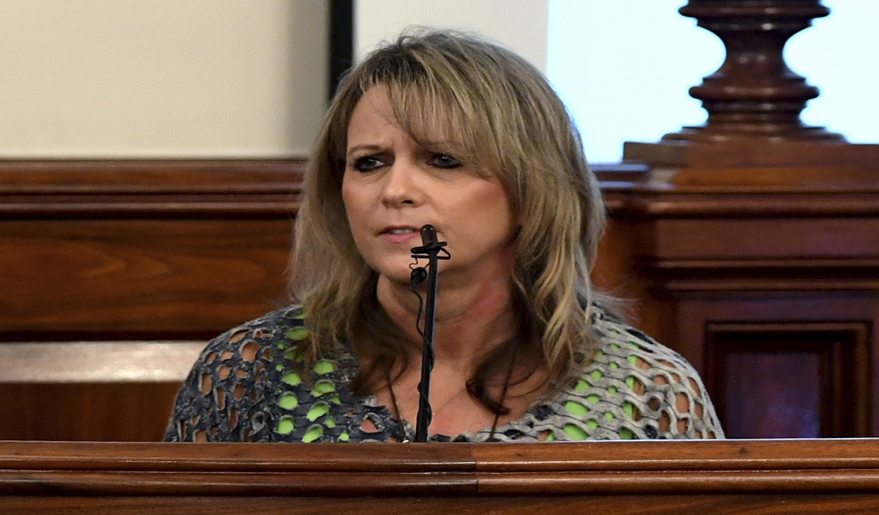 Karen Bobo speaks to Zach Adams during the victim impact statement during the penalty phase of the Holly Bobo murder trial, Saturday, Sept. 23, 2017 in Savannah, Tenn.