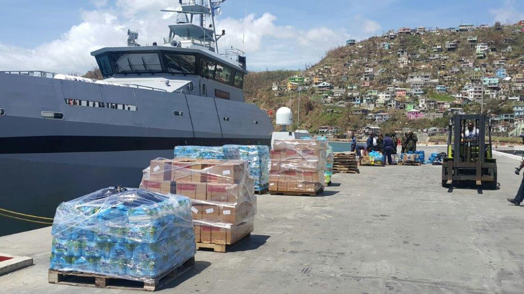 Relief items from Trinidad and Tobago arrive in Dominica. Photo courtesy the T&T Ministry of National Security