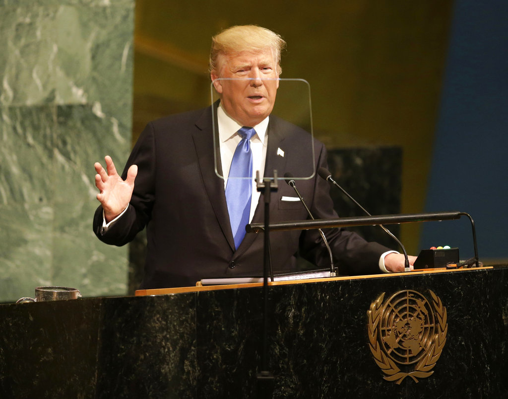 US President Donald Trump, speaking at the United Nations General Assembly. (AP Photo)