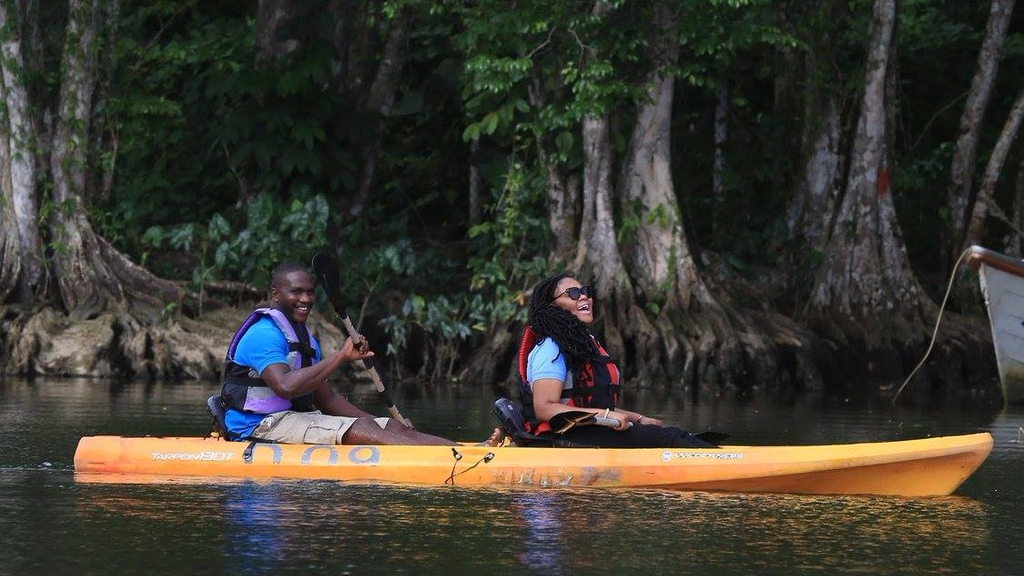 Minister of Tourism enjoyed kayaking in Salybia for World Tourism Day.