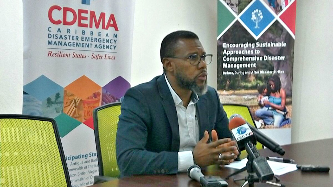 CDEMA Executive Director, Ronald Jackson, speaking at a press conference on Thursday.