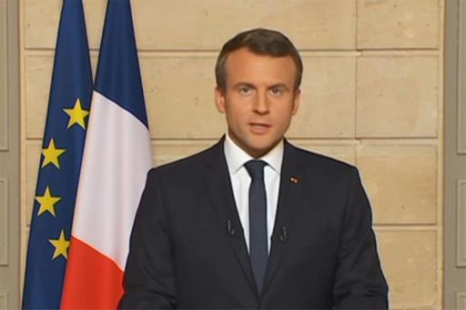 """Capture d'écran de la chaîne LCI lors de l'intervention du président Emmanuel Macron annonçant l'opération """"Make our planet great again"""", le 1er juin 2017"""