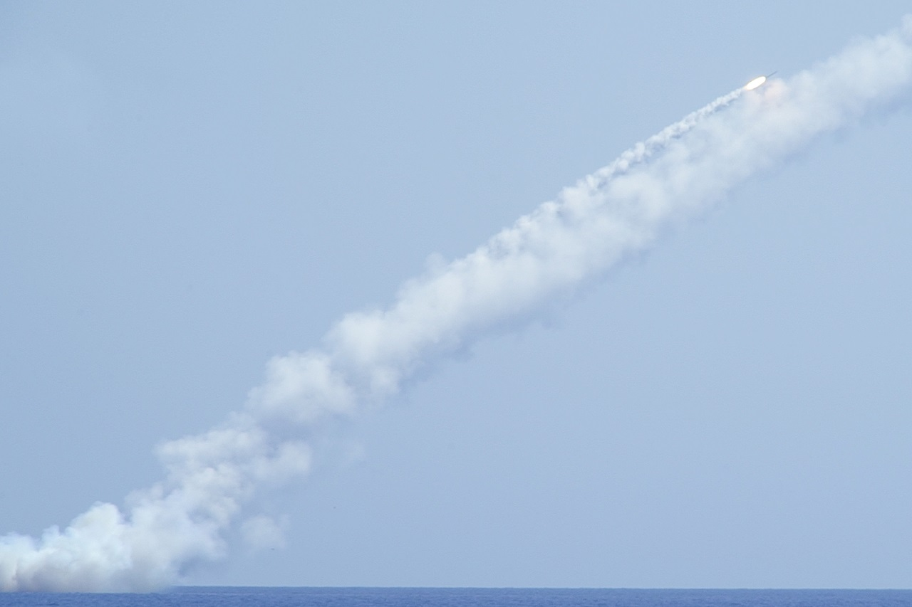 In this image made from video a long-range Kalibr cruise missile is launched by the Russian Navy submarine in the Mediterranean on Thursday, Sept. 14, 2017. Russia's military says it fired seven cruise missiles at Islamic State targets in the eastern Syrian province of Deir el-Zour.