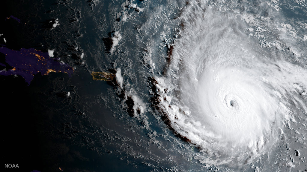 In this image captured by the National Oceanic and Atmospheric Administration, Irma, a potentially catastrophic category 5 hurricane, moves westward, in the Atlantic Ocean toward the Leeward Islands. Irma grew into a dangerous Category 5 storm, the most powerful seen in the Atlantic in over a decade, and roared toward islands in the northeast Caribbean on a path that could eventually take it to the US.