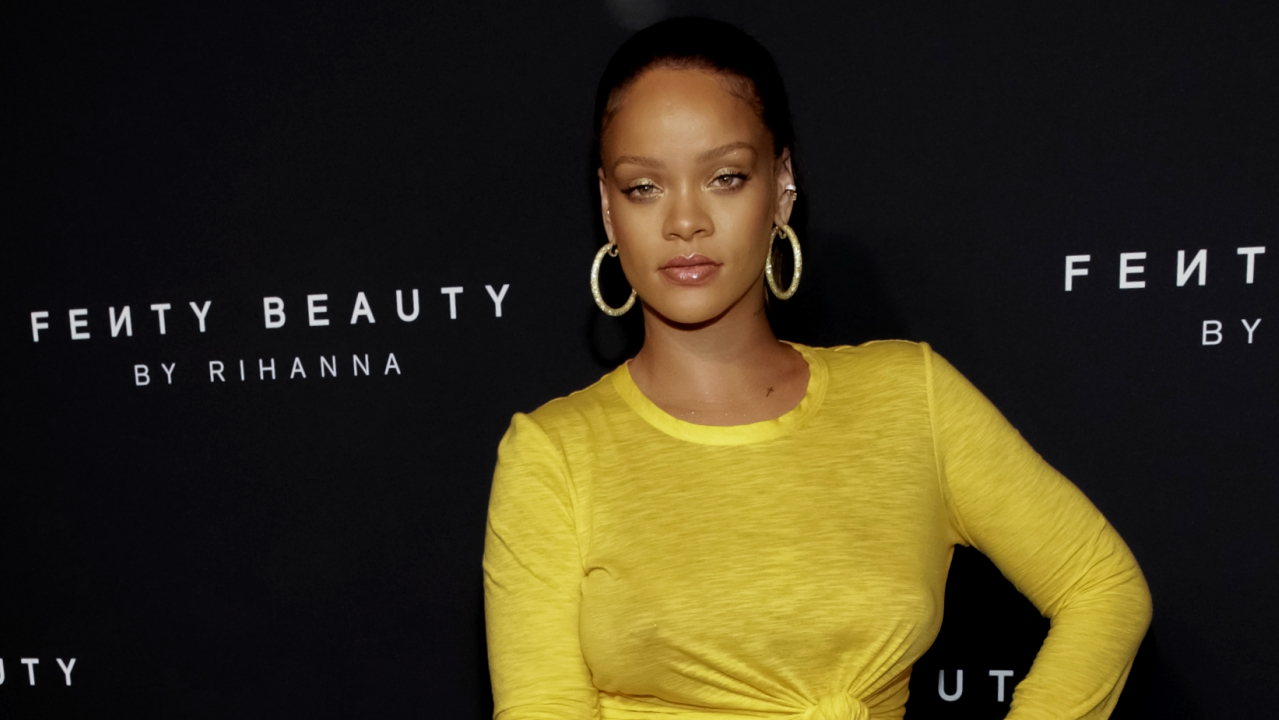 "Rihanna attends the launch of her beauty brand ""Fenty Beauty by Rihanna"" at Duggal Greenhouse on Thursday, Sept. 7, 2017, in Brooklyn, NY. (AP Photo)"
