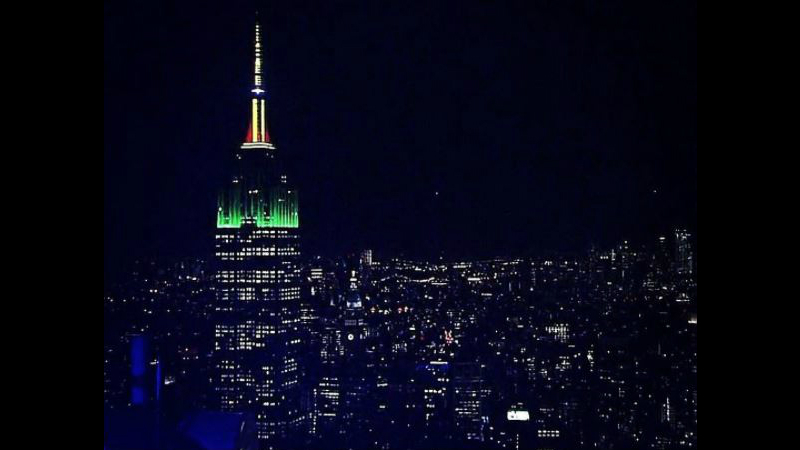 The national colours of Dominica light up the Empire State Building in New York City on Thursday night.