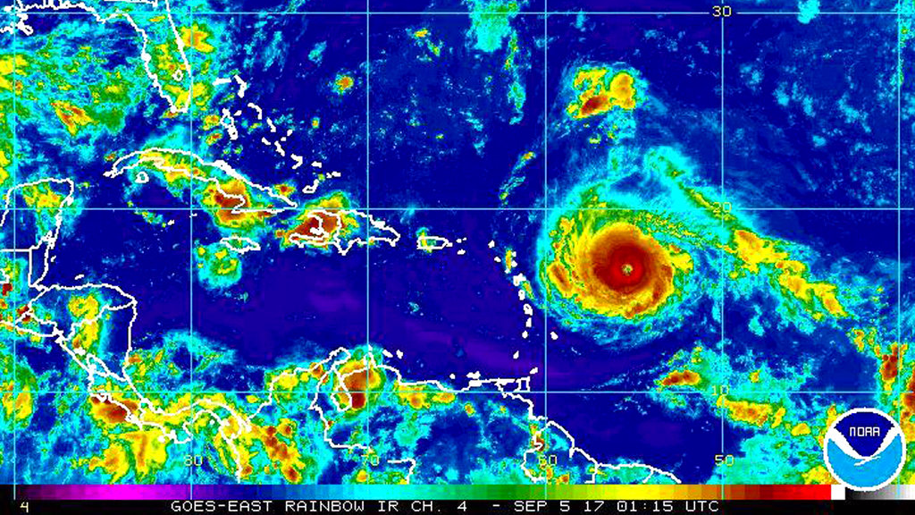 This Monday, Sept. 4, 2017, satellite image provided by the National Oceanic and Atmospheric Administration shows Hurricane Irma nearing the eastern Caribbean. Hurricane Irma grew into a powerful Category 4 storm Monday.