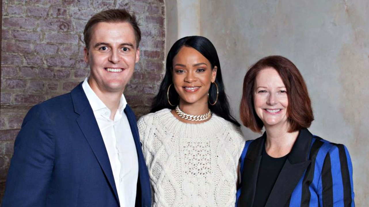(L-R) CEO of Global Citizen, Hugh Evans; GPE lobal Ambassador Rihanna; and GPE Chair and former Prime Minister of Australia, Julia Gillard.