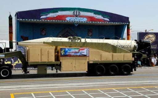 Un missile iranien Khoramshahr lors d'une parade militaire, le 22 septembre 2017 à Téhéran
