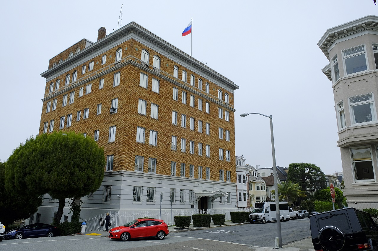 This Thursday, Aug. 10, 2017 photo shows the Consulate-General of Russia in San Francisco. The United States is retaliating against Russia by forcing closure of its consulate in San Francisco and scaling back its diplomatic presence in Washington and New York.