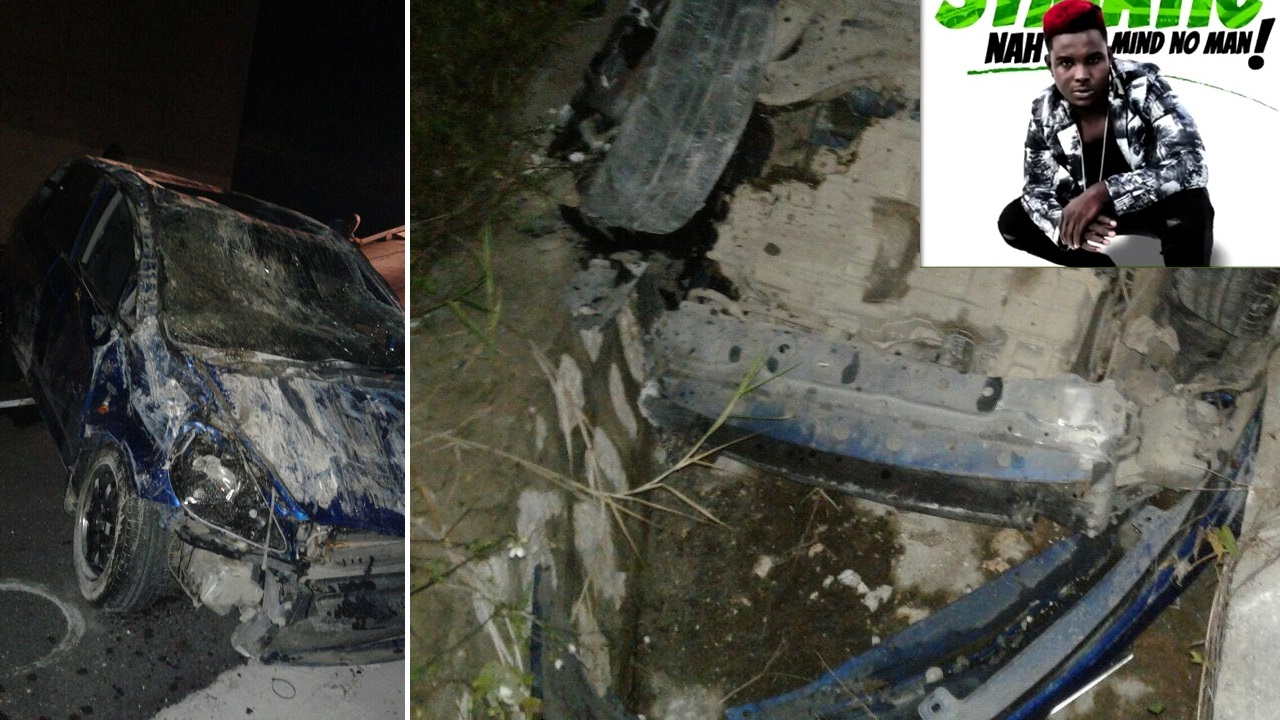 The wrecked motor car that was being driven by dancehall artiste Symatic. (Inset: Symatic)
