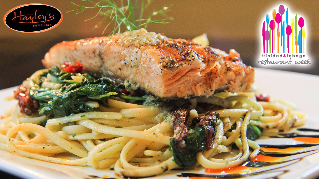 Salmon scampi with mushroom and spinach pasta from Hayleys Restaurant 