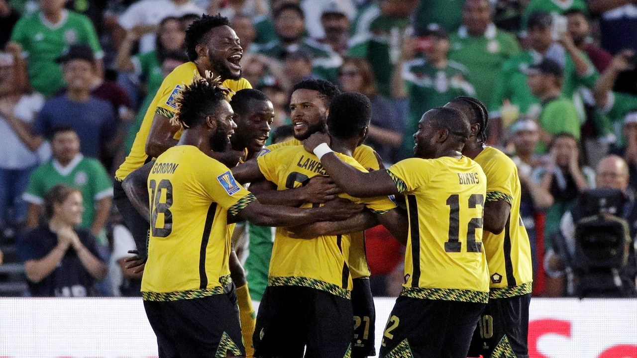 Reggae Boyz celebrate after scoring against Mexico in the semifinals of the 2017 Gold Cup in the United States. (PHOTO: AP)