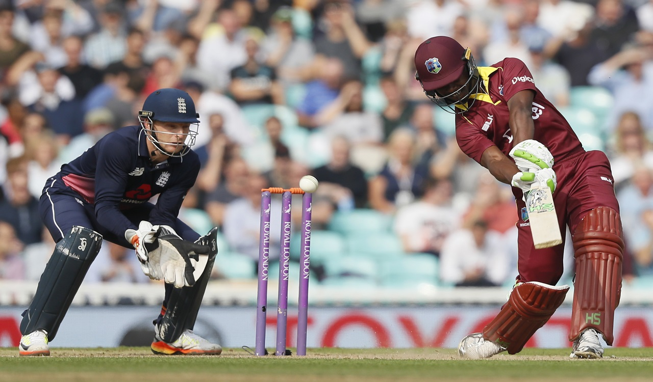 West Indies' Evin Lewis plays a shot off the bowling of England's Moeen Ali during the fourth One Day International cricket match against at the Oval cricket ground in London, Wednesday, Sept. 27, 2017.