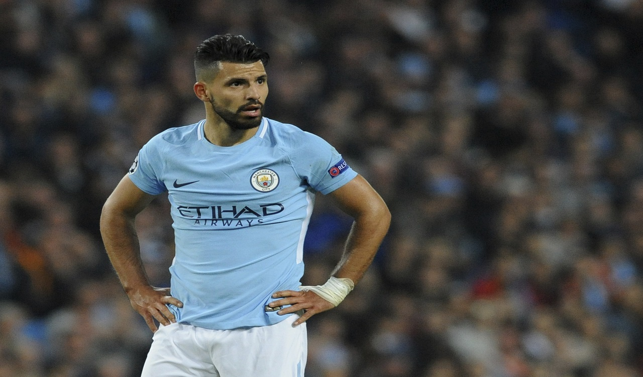 Manchester City's Sergio Aguero looks around the pitch during the Champions League Group F football match against Shakhtar Donetsk at Etihad stadium, Manchester, England, Tuesday, Sept. 26, 2017.