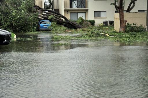 Une rue inondée de Miami après le passage de l'ouragan Irma, le 10 septembre 2017