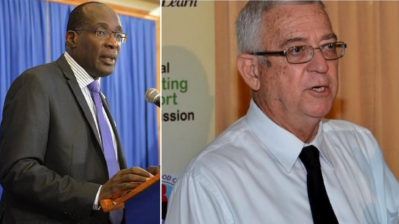 Education Minister, Senator Ruel Reid (left) and Opposition counterpart Reverend Ronald Thwaites.