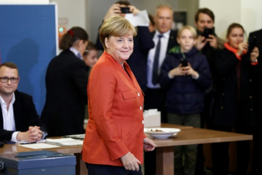 Angela Merkel vote à Berlin, le 24 septembre 2017
