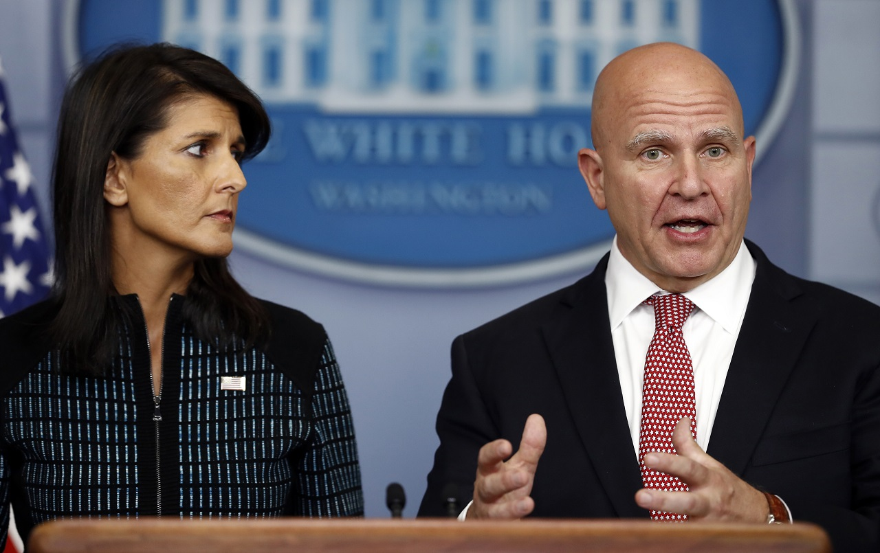 ational security adviser H.R. McMaster, right, and U.S. Ambassador to the UN Nikki Haley, participate in a news briefing at the White House, in Washington, Friday, Sept. 15, 2017.