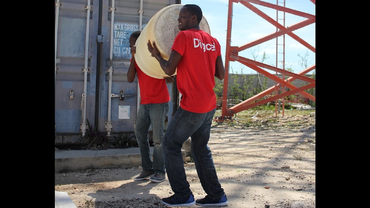 Digicel employees moving equipment into place as the company prepares for Hurricane Maria.