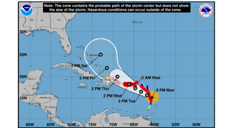 Hurricane Maria forecast track at 5 pm on Monday, September 18.