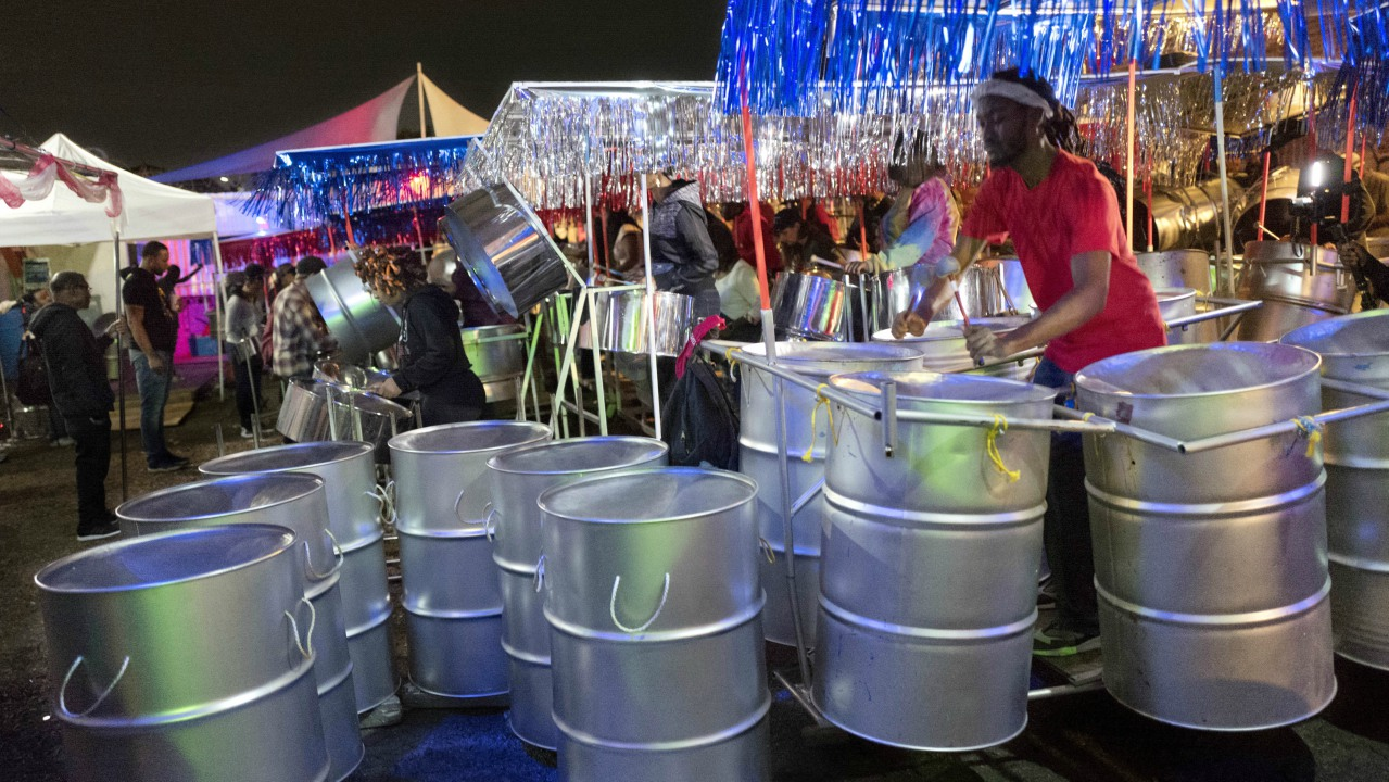 In this Sept. 1, 2017 photo, Alexander Smart rehearses on steel drums with Despers USA in the Crown Heights neighborhood in the Brooklyn borough of New York. (AP Photo)