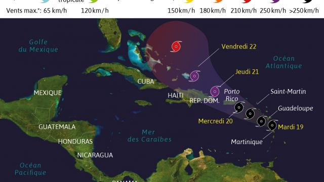 Carte météo décrivant la trajectoire de l'Ouragan Maria. Crédit: France Ouest.