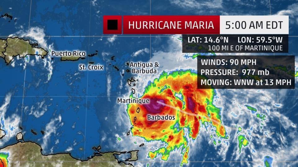 Maria gaat naar verwachting over Dominica en Martinique heen, ten zuiden van Saba, Sint-Maarten en Sint-Eustatius.
