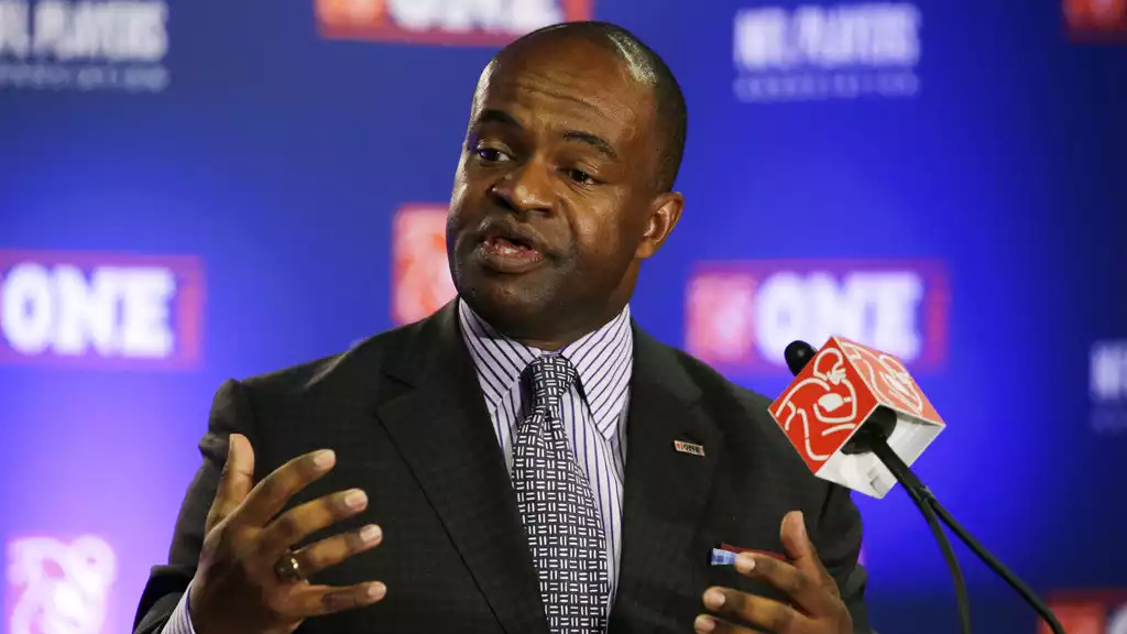 In this Jan. 29, 2015, file photo, NFL Players Association Executive Director DeMaurice Smith speaks during a news conference for NFL Super Bowl XLIX football game, in Phoenix. (AP Photo/David J. Phillip, File)