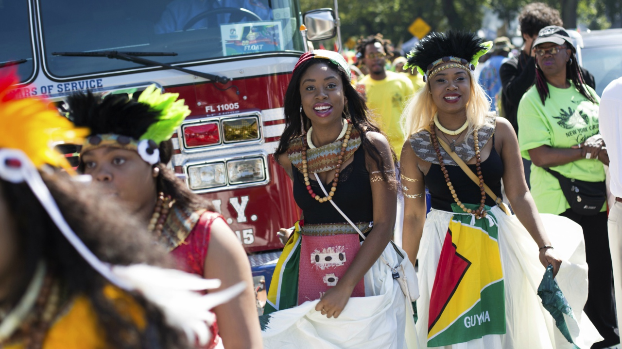 Dancers arrive in costume at the West Indian Day Parade on Monday, Sept. 4, 2017, in the Brooklyn borough of New York.  (AP Photo)