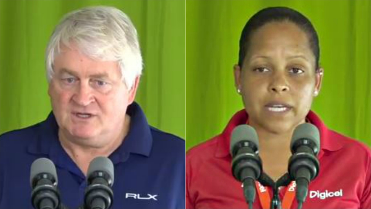 Chairman of Digicel, Denis O'Brien and CEO of Digicel Dominica, Nikima Royer, speaking at a national press briefing in Dominica this week.