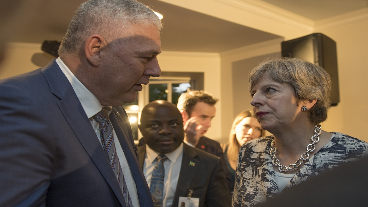 Prime Minister Chastanet with UK Prime Minister Theresa May