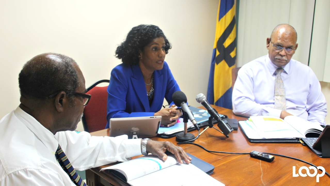 (L-R) Wismar Greaves, Deputy Chairman of the National Insurance Board; Minister of Labour, Social Security and Human Resource Development Senator Esther Byer Suckoo; and Director of the National Insurance, Ian Carrington.