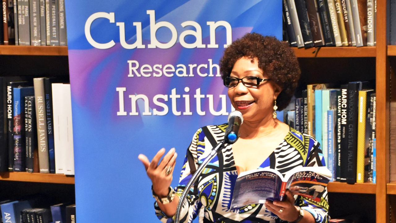 Barbadian author, Dr. Sharon Marshall, presenting her book 'Tell My Mother I Gone to Cuba' at the Cuban Research Institute in Miami.