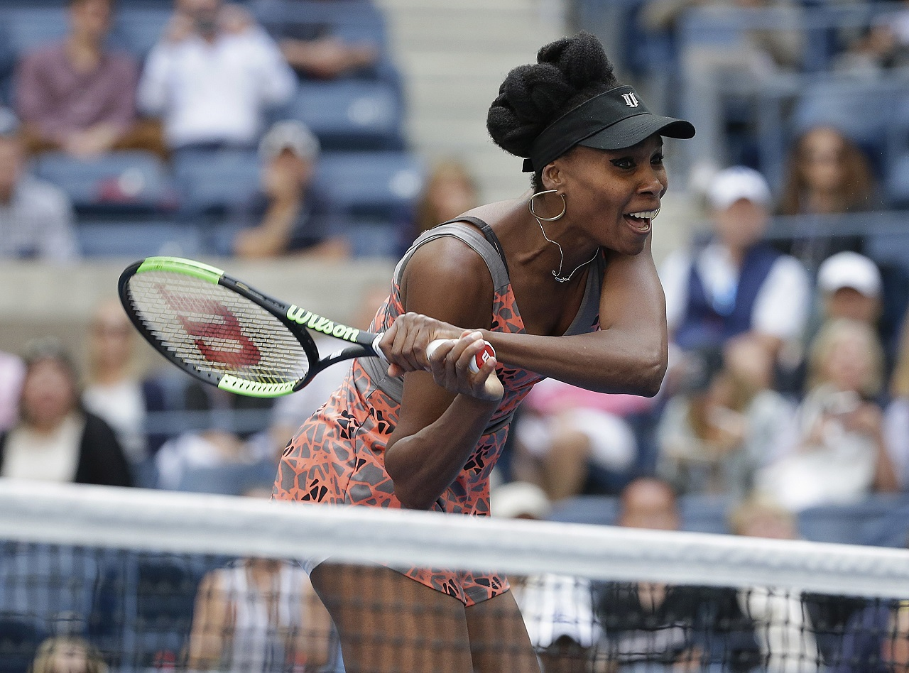 Venus Williams, of the United States, returns a shot from Maria Sakkari, of Greece, during the third round of the U.S. Open tennis tournament, Friday, Sept. 1, 2017, in New York.