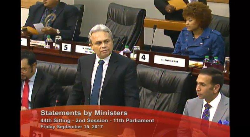Finance Minister Colm Imbert announces the date of 2018 Budget in Parliament Friday, September 15.