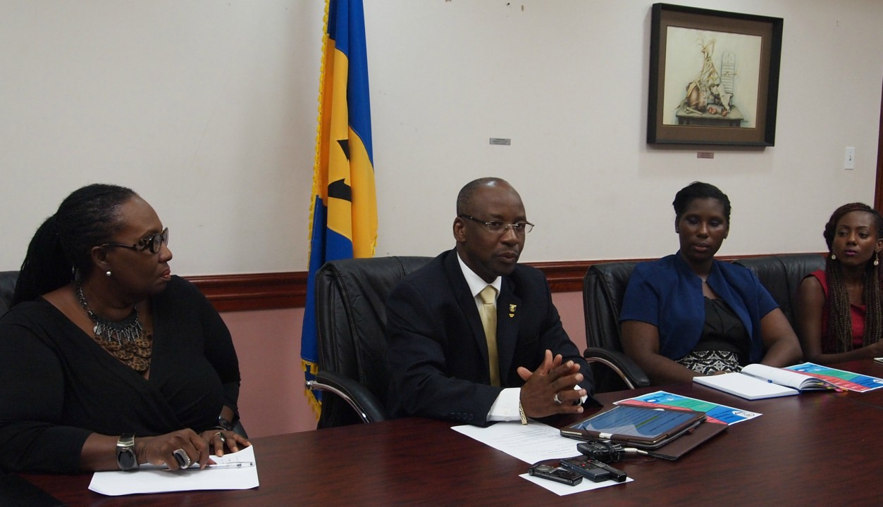 (L-R) Manager of the Youth Entrepreneurship Scheme, Selma Green, Minister of Sports, Youth and Culture, Stephen Lashley, CARICOM Youth Ambassador, Zuwena Perry; Project Coordinator of the Caribbean Youth Environment Network, Jamilla Sealy.