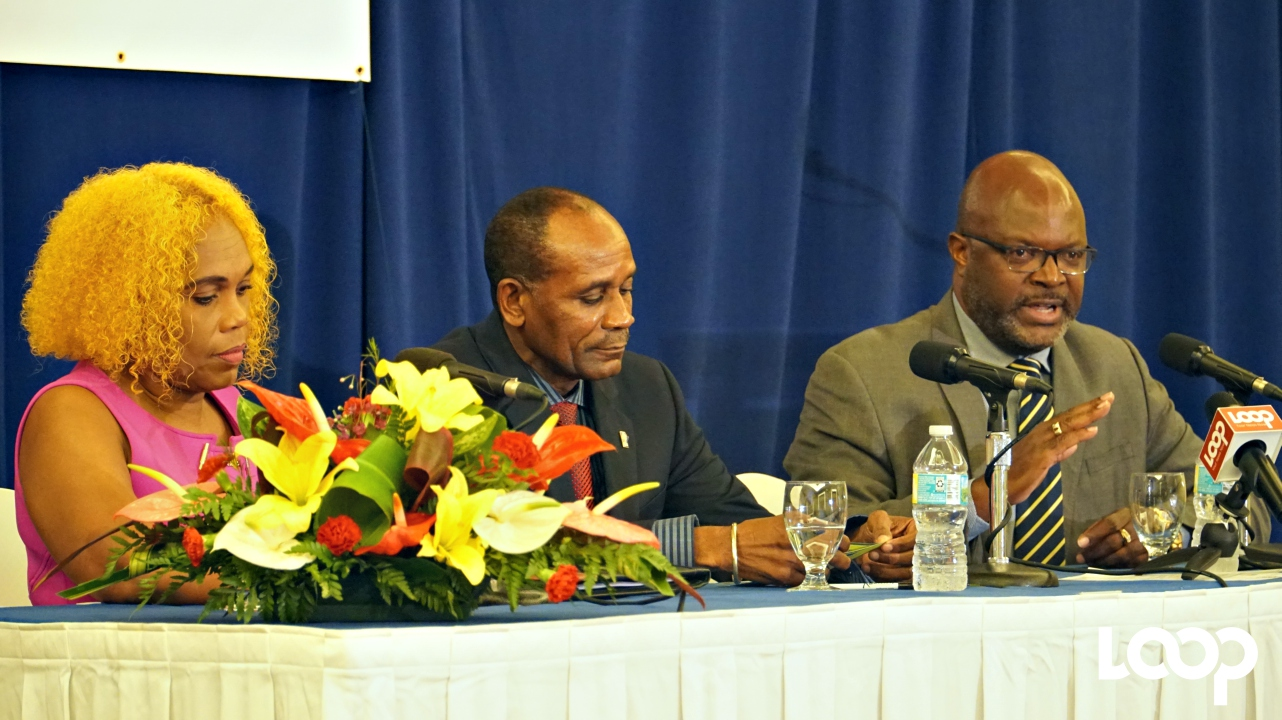 (L-R) BHTA Chairman Roseanne Myers; acting Police Commissioner Tyrone Griffith; Attorney General Adriel Brathwaite.
