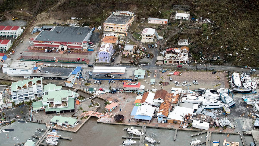 An image of St Maarten following the passage of Hurricane Irma.
