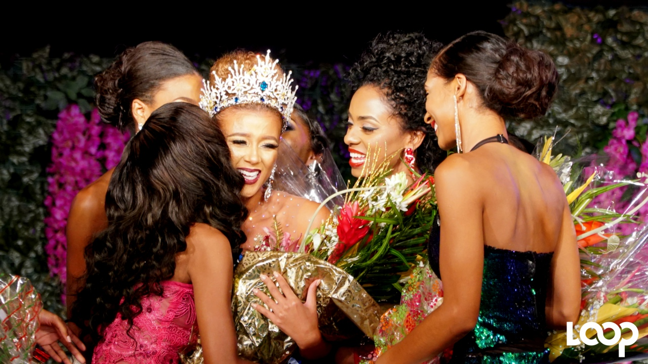 Miss Universe Barbados 2017, Lesley Chapman-Andrews, is congratulated by delegates on Coronation Night. (PHOTO: Richard Grimes)