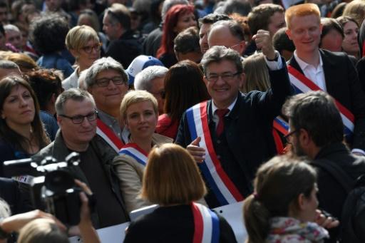 En tête de la manifestation, aux côtés du leader de La France insoumise, Jean-Luc Melenchon plusieurs députés LFI notamment Clémentine Autain, le 23 septembre 2017 à Paris.