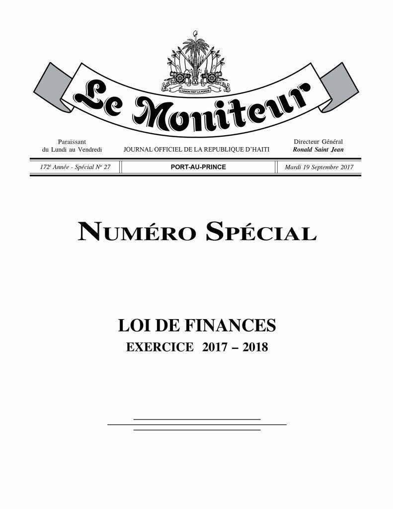 Page de couverture du Moniteur du mardi 19 septembre 2017, promulguant la loi de finances 2017-2018.
