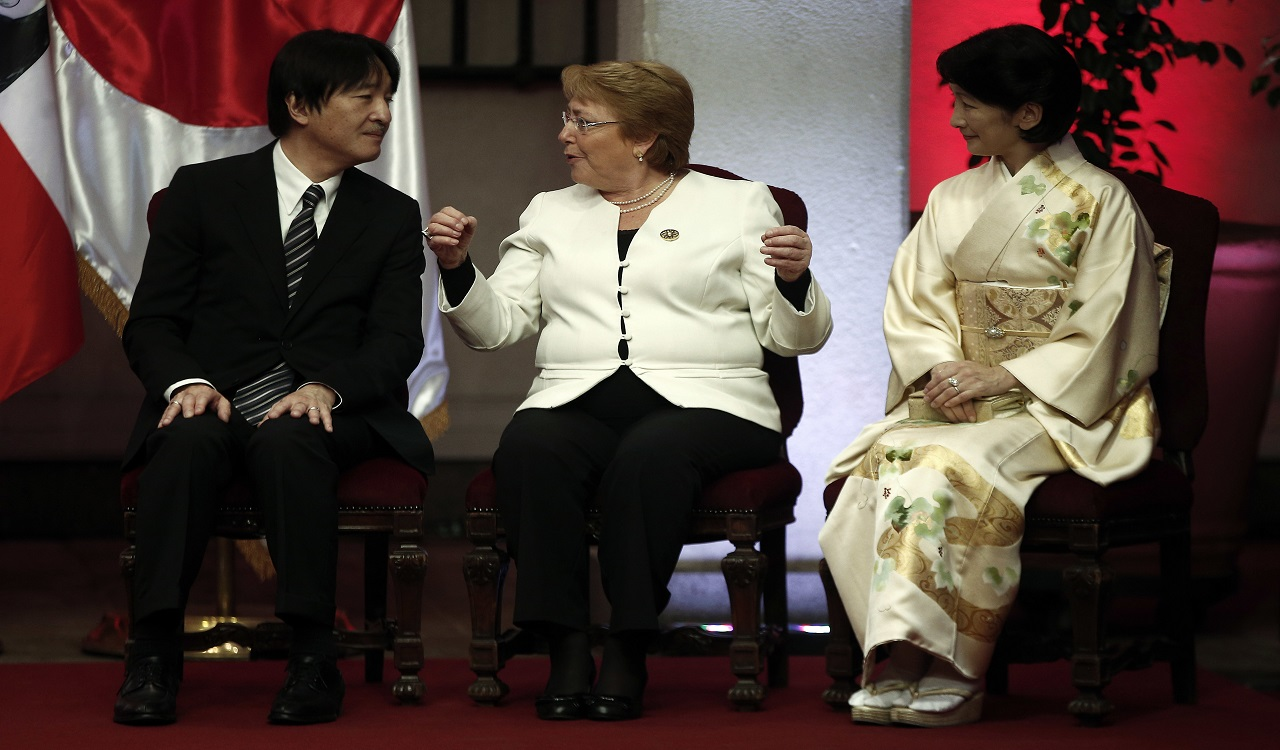 Chile's President Michelle Bachelet, center, speaks with Japan's Prince Akishino and his wife Kiko at La Moneda presidential palace in Santiago, Chile, Wednesday, Sept. 27, 2017.