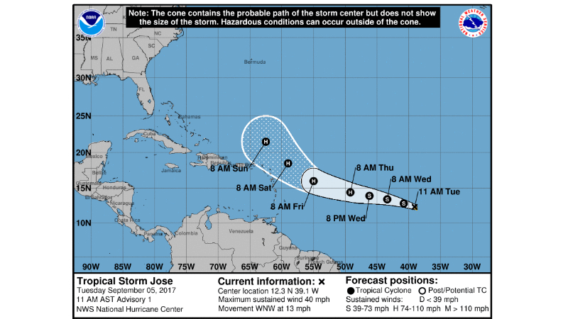 Tropical Storm Jose forms over the open Atlantic
