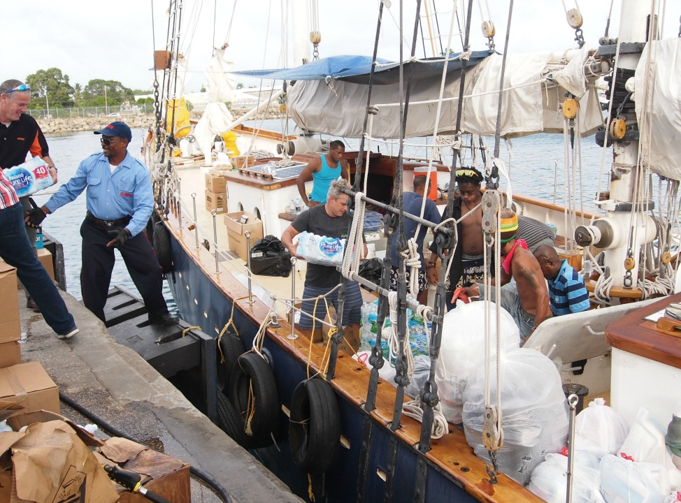 Relief supplies being packed onto the Schooner Ruth on Monday afternoon.