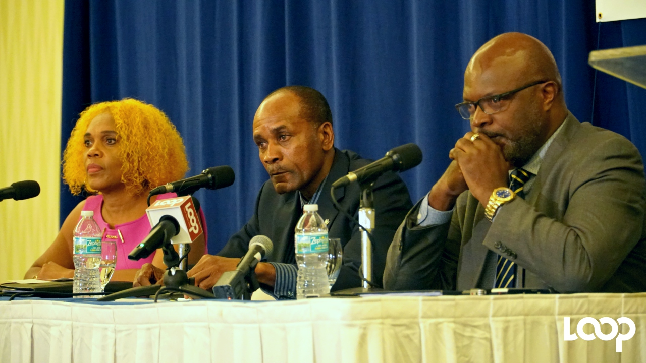 (L-R) BHTA Chairman, Roseanne Myers; acting Commissioner of Police Tyrone Griffith; Attorney General Adriel Brathwaite.