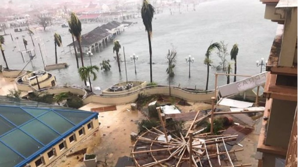 Damage caused by Hurricane Irma in the French territory of St Martin.