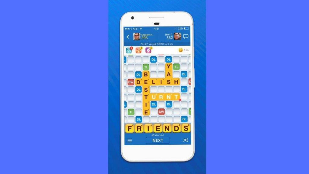 This image released by Zynga shows the Words With Friends app. Game developer Zynga said Tuesday, Sept. 19, 2017, that it is adding 50,000 internet slag words, including BFF, fitspo (fitness inspiration), delish, FOMO (fear of missing out), hangry (hungry and angry), kween, smize, TFW (that feel when), turnt, werk, yas _ as well as bae and bestie. (Zynga via AP)
