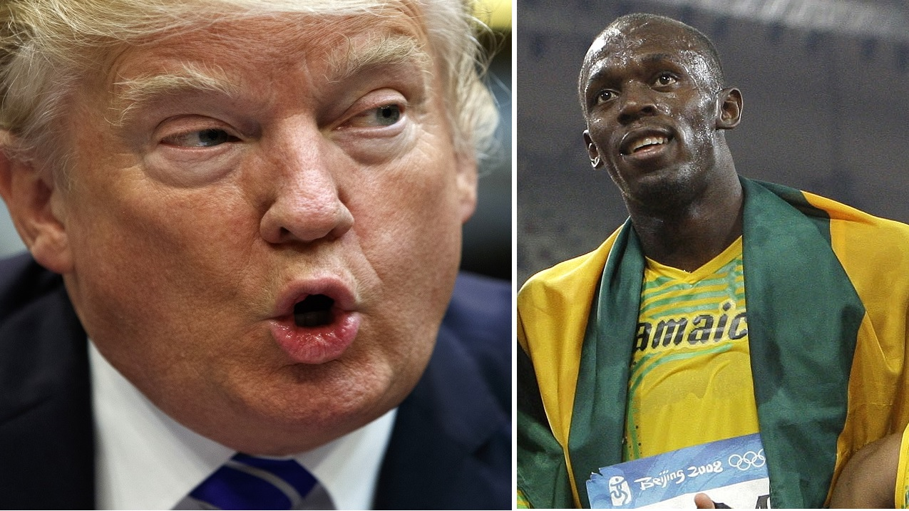 US President Donald Trump (left) and Usain Bolt